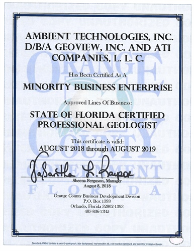 Ambient Technologies, Inc. and Subsidiaries have been Awarded the Orange County MBE Certification