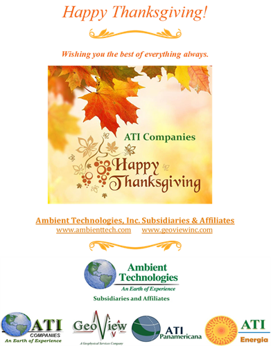 Happy Thanksgiving from Ambient Technologies and Subsidiaries ATI Companies LLC and GeoView